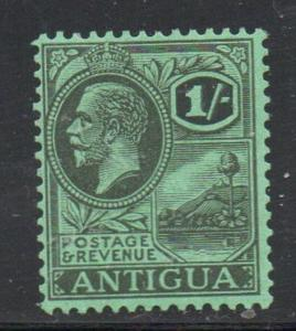 Antigua Sc 53 1929 1/ black on emerald G V & St Johns Harbour stamp mint