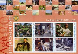 UZBEKISTAN 2002 Frederic Bazille Paintings Sheet Perforated mnh.vf
