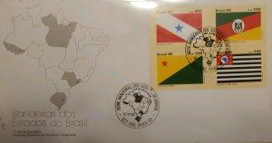 A) 1985, BRAZIL, FLAGS OF THE STATES OF BRAZIL, FDC, PARA, RIO GRANDE DO SUL, AC