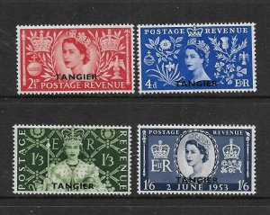 BRITISH OFFICES IN MOROCCO, 579-582, HINGED, CORONATION ISSUE OVPTD