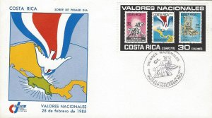 COSTA RICA NATIONAL VALUES, DOVE, FLAG,LABOR MONUMENT,PRINTING, Sc 326 FDC 1985