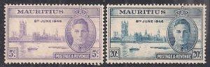 Mauritius 1946 KGV1 Set of Victory Umm SG 264 – 265 ( D328 )