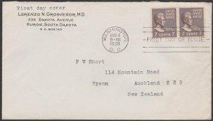 USA 1938 7c Andrew Jackson pair on FDC to New Zealand ex Washington.........P999