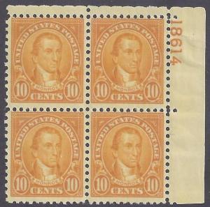 Scott #642 Mint plate block of 4