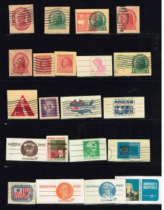 US STAMP BOB POSTAL CARDS CUT SQ STAMPS COLLECTION LOT #S2
