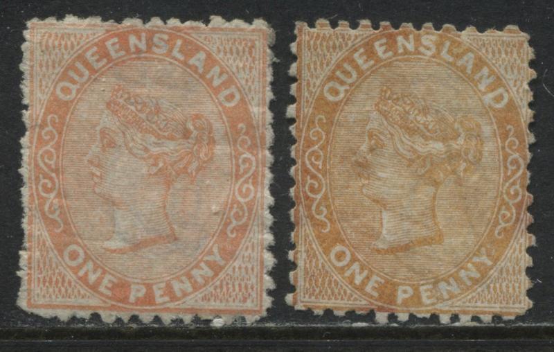 Queensland QV 1879 1d red orange & 1d brown orange mint o.g. lightly hinged