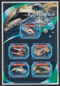 Guinea-Bissau MNH S/S Dolphins Marine Life 2016 5 Stamps