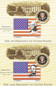 Liberia U.S. Presidents Souvenir Sheets, Mint NH