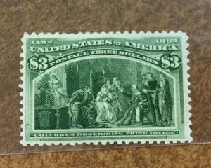{BJ Stamps}  243  $3 Columbian Mint OG PF Cert. bright yellow green shade  SOUND