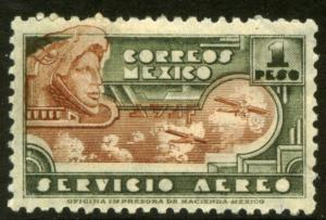 MEXICO C176, $1P 1934 Definitive Wmk Gobierno...279 MINT, NH. VF.