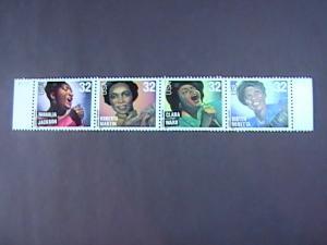 U.S.# 3216-3219(3219a)-MINT/NH-PLATE # STRIP OF 4-AMERICAN MUSIC-1998