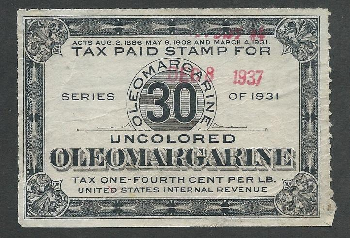 Oleomargarine Tax Stamp, Used