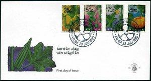 Aruba 122-125 FDC.Michel 160-163. Vegetables 1995.Vigna sinensis,Cucumis