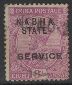 INDIA-NABHA SGO44 1913 8a DEEP MAGENTA USED