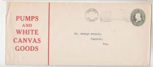 Envelope, 1918 1c., PUMPS & WHITE CANVAS GOODS, CHELSEA, MASS to Wayside, Wis.