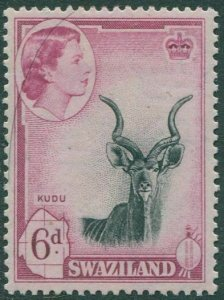 Swaziland 1956 SG58 6d black and mauve Kudu QEII MLH