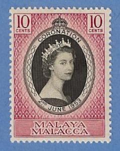 Malaya Malacca 27 MH Pencil Mark-Queen Elizabeth Coronation