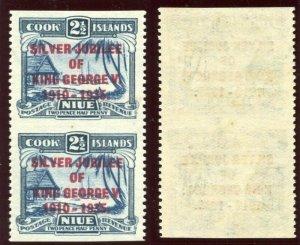 Niue 1935 KGV Silver Jubilee 2½d Imperf Between Vertical Pair MLH. SG 70 var.