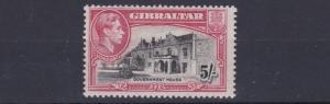 GIBRALTAR  1938 - 51  SG   129B  5/-   BLACK & CARMINE  PERF 13  LMH