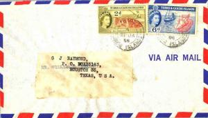 Turks & Caicos Is. 2d QEII Red Grouper and 6d QEII Conch 1958 Grand Turk, Tur...
