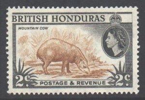 Br Honduras Scott 145 - SG180a, 1953 Elizabeth II 2c Perf 14 MH*
