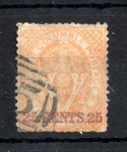 Canada British Columbia 1869 25c yellow fine used SG#31 WS13114
