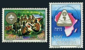 Senegal 432-433,MNH.Michel 595-596. All African Scout Jamboree 1976.Campfire,Map