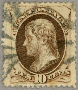 US Scott#161 XF Jumbo margins 1873 10c Jefferson, face-free cancel