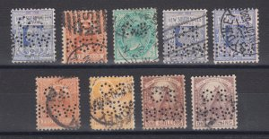 New South Wales SG 293b/348 used 1897-1908 Officials, 9 different OS/NSW perfins
