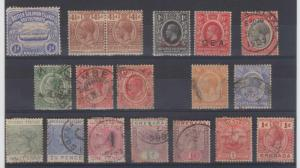 BC 1890-1910 GROUP OF 18 STAMPS ON CARD SOLOMON, NYASSALAND, TANGANIKA, UGANDA+