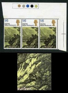 Spec W191g 1970 1/6 Dickens with Retouched Slope Variety Strip of 3 U/M