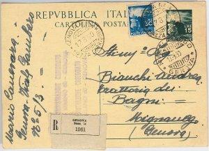 47516 - ITALIA REPUBBLICA -  INTERO POSTALE con fbllo DEMOCRATICA - RACCOMANDATA