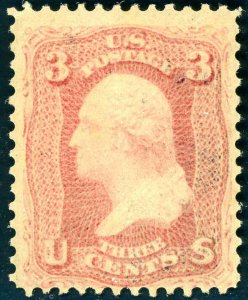 1861 3¢ PINK #64 NEVER HINGED  VERY SCARCE CAT $14,000+ CERT