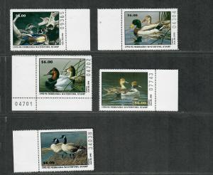 Nebraska Sc#1-5 M/NH/VF, State Duck Stamps, Cv. $55