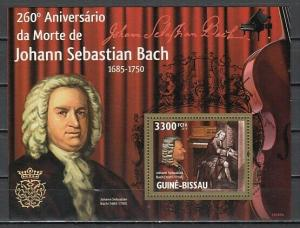 Guinea Bissau, 2010 issue. Composer Johann Bach s/sheet.