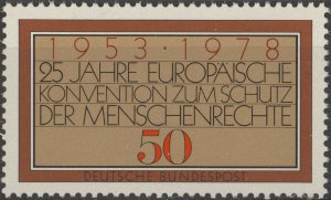Stamp Germany Sc 1280 1978 European Human Rights Convention 25th Anniversary MNH
