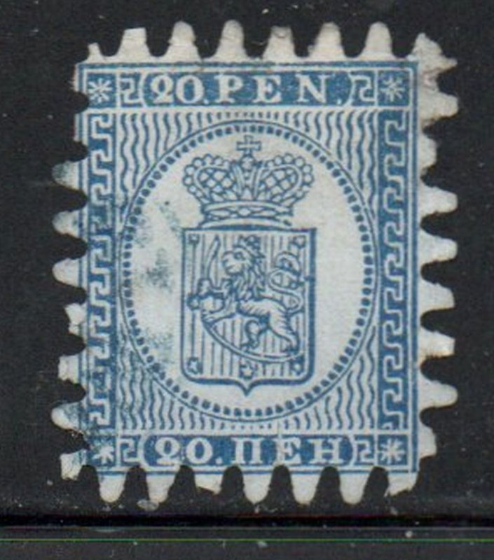 Finland Sc 9 1866 20p blue Coat of Arms stamp rouletted used