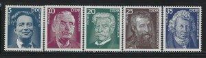GERMANY DDR - #1625-#1629 - 1975 FAMOUS PEOPLE MINT SET MNH