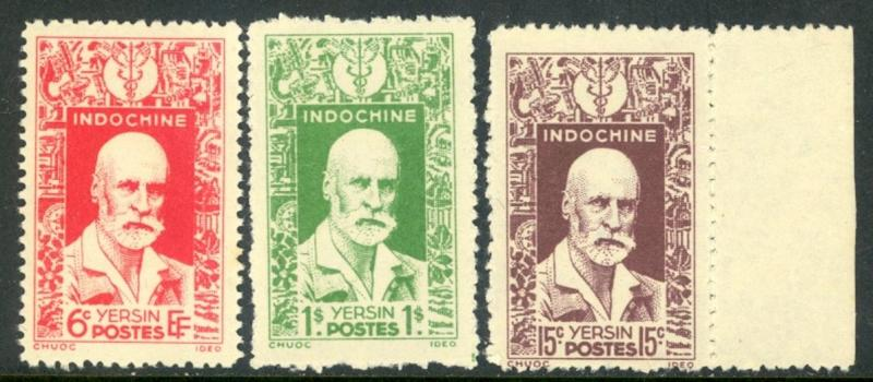 Dr. Alexandre Yersin On Stamps Of Indochina #234-236