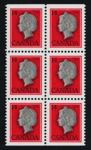 Canada 716a,as block of 6 MNH Queen Elizabeth