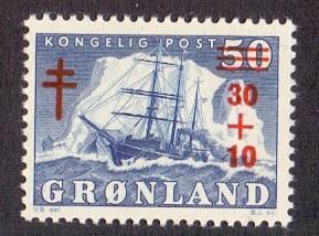 Greenland 1950  MNH Polar ship Holm tuberculosis 30 + 10