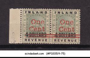 BRITISH GUIANA - 1890 INLAND REVENUE OVPT RED SURCHARGED SCOTT#151 2V PAIR MH