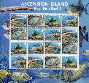 ASCENSION ISLAND REEF FISH 2  SCOTT #1053a SHEET MINT NH