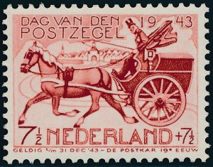 Stamp Netherland Holland Germany Sc B148 1943 WWII War Occupation Carriage MNH