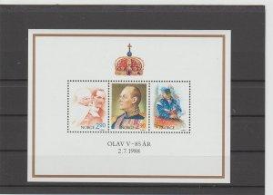 Norway  Scott#  931  MNH  S/S  (1988 King Olav 85th Birthday)