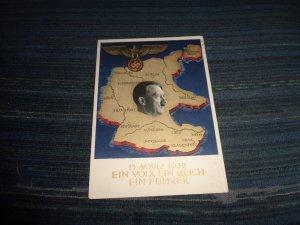 GERMANY WWII PROPAGANDA POSTAL CARD:  EIN VOLK EIN REICH EIN FUHRER
