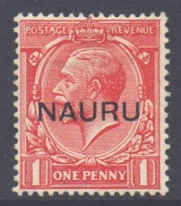 Nauru Scott 2a - SG14, 1916 George V 1d Overprint at Centre MH*