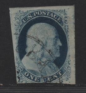 $US Sc#7 used, fine, Pos4L2, Cv. $125