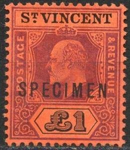 ST. VINCENT  SCOTT#23 SPECIMEN OVERPRINT  VF MINT NO GUM -SCOTT VALUE $275.00