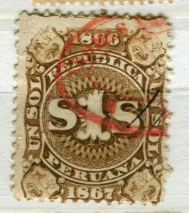 PERU; 1860s early classic Revenue issue fine used 1s. value